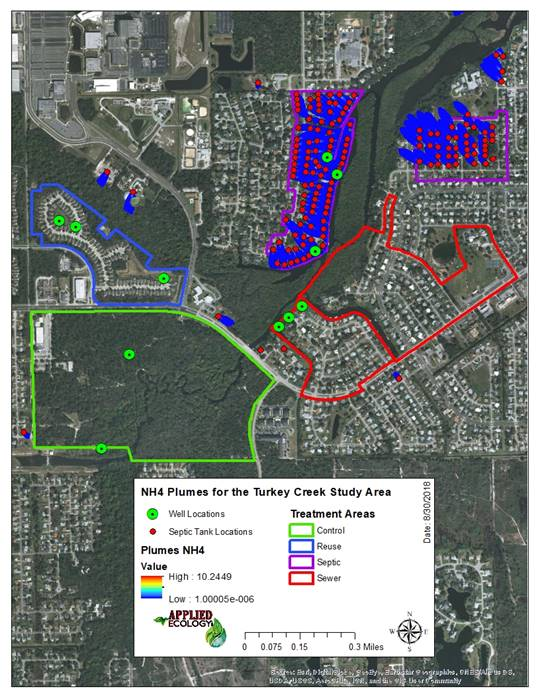 Ammonium (NH4) plumes for modeled septic tank locations within the Turkey Creek Community of Palm Bay, Florida.