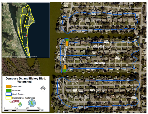 Basin delineation of proposed treated areas using green infrastructure.