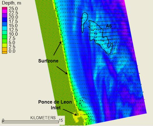 Predicted sand transport patterns during a potion of Hurricane Floyd. Strong sand transport is seen over the crest of the A6 Shoal, in the surfzone and over the ebb shoal of Ponce de Leon Inlet.