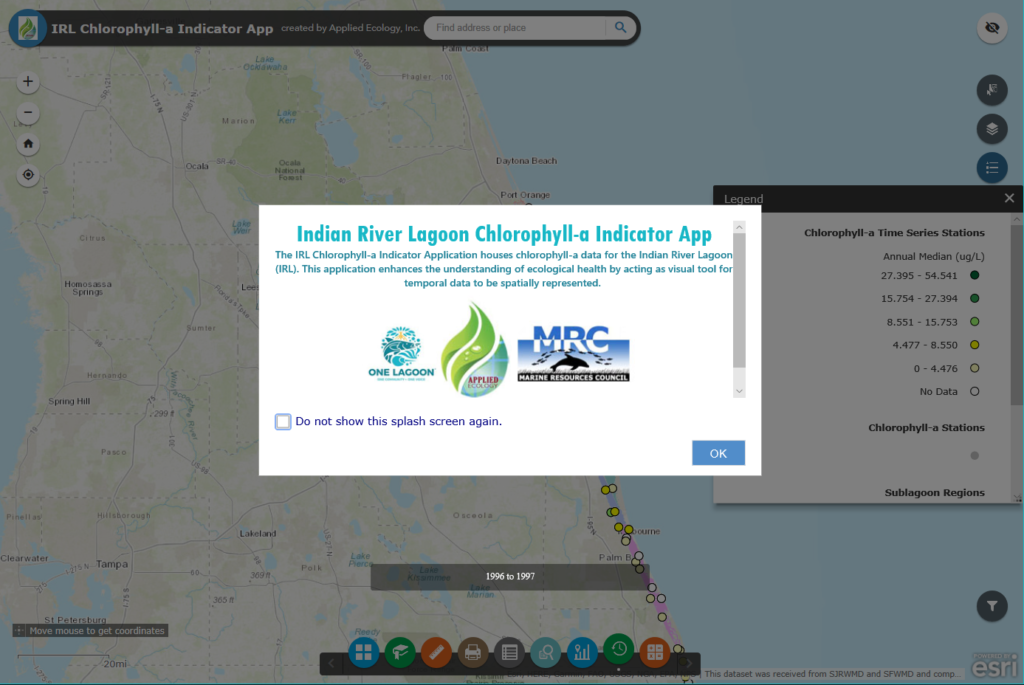 Opening screen of the State of the Indian River Lagoon Application (SIRLAP).