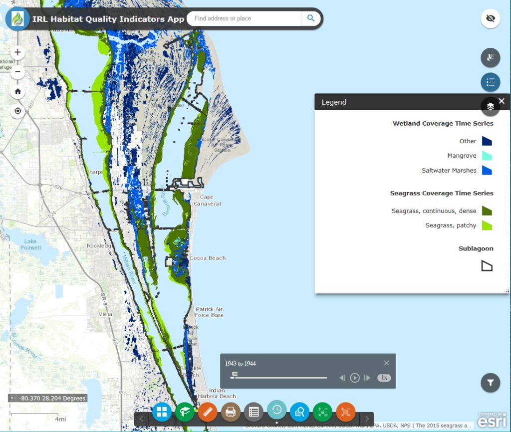 Spatial distribution of seagrass and wetlands within the Indian River Lagoon. The Time Slider widget is displayed at the bottom of the image, which allows you to see changes in seagrass and wetland distribution through time.