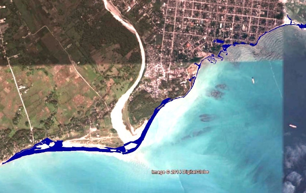 Predicted flooding for Les Cayes under IPCC sea level rise scenario 8.5 in 2100 (+80 cm).
